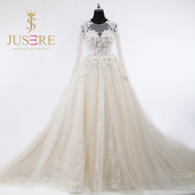Newest 3D Flowers Pearls Beaded Scoop Sheer Back Buttons Up Long Sleeves Ivory Tulle Wedding Ball Gowns 2016