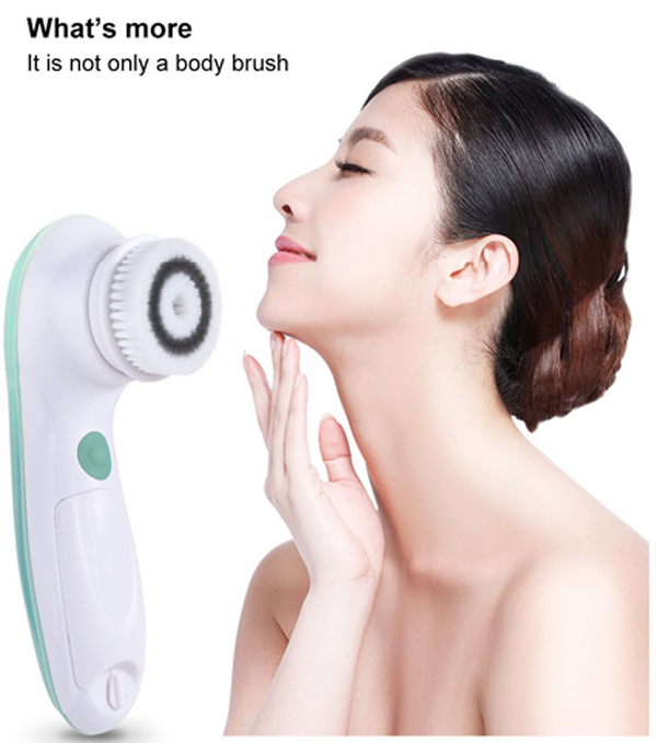 TOUCHBeauty IPX6 Waterproof Electric Facial and Body cleansing Brush with a long handle, big body brush and facial brush
