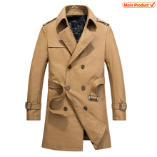 Classic China Factory Brand Khaki Long Leather Trench Coat Men Wholesale Faux PU Jackets