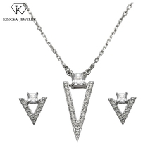 Wholesale triangle design guangzhou jewelry necklace and earring set