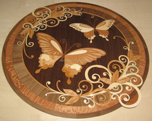 high quality laser cut wood veneer inlays medallion parquet floors