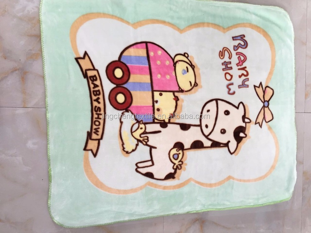 two layer lovely printed cloudy blanket for baby with overlock edge .