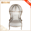French Provincial Canopy Birdcage Chair/ Antique Limed Gray Oak Wooden Linen Upholstered Birdcage Chair, Shell Leisure Chair