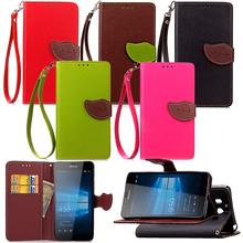 Fancy Dual Colour Leather PU Mobile Phone Case For Nokia LUMIA 950 ,Korea Style Flip Cover For Nokia LUMIA 950