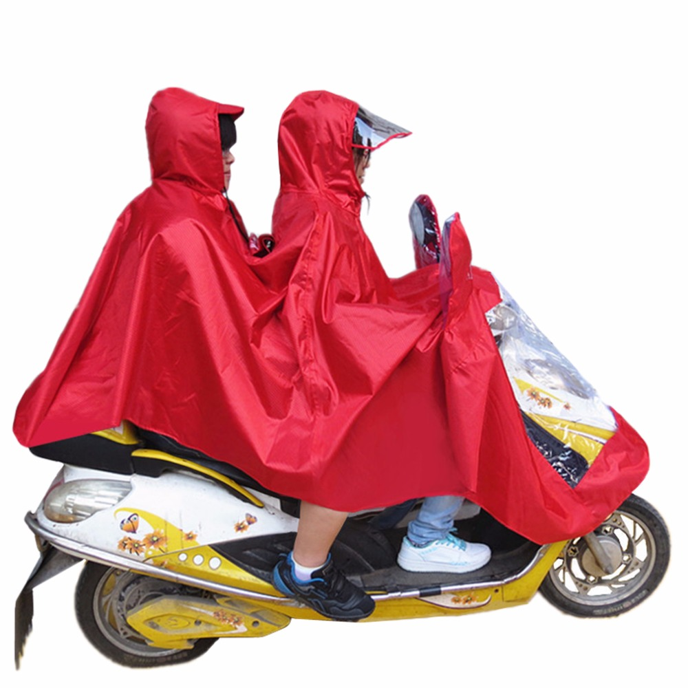 5 Color Bicycle Jacquard Motorcycle Double-Person Raincoat Poncho Coat Adult Hooded Raincoat Rainwear Waterproof Rain Coat
