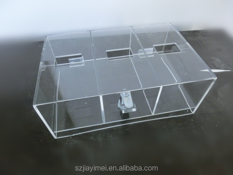 custom acrylic standing donation boxes/ charity donation boxes with lock