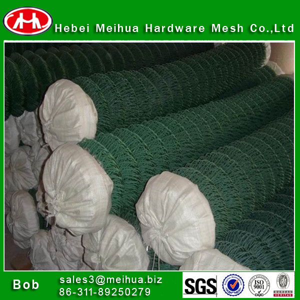 high quality grass green chain link wire mesh fence with low price(factory)