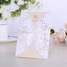 China invitation letter nice embossing Luxurious wedding invitation card ribbon bow Laser cut wedding invitation card