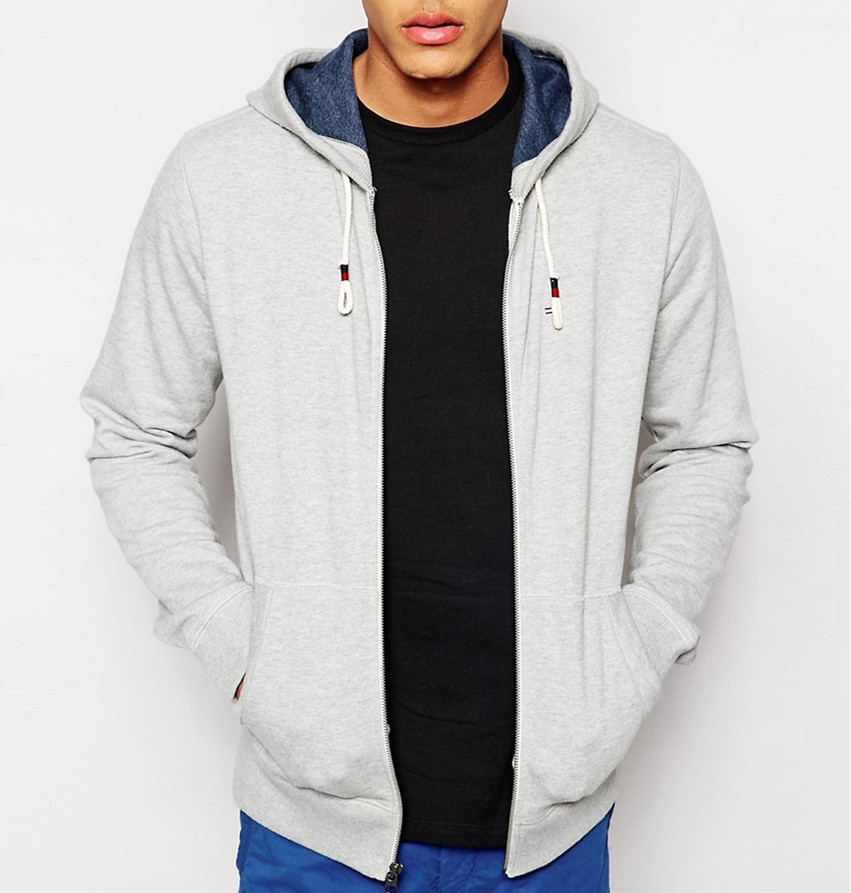 grey color warm autumn Heavyweight velour Zip Up Hoodie with drawstring and pocket