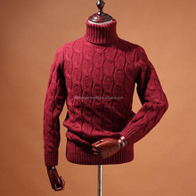 BGA16013 Fashion knitwear turtle neck cable knitting sweater acrylic knitted pullover