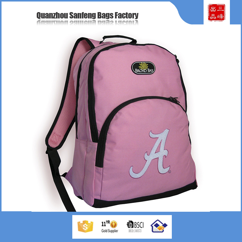Wholesale the newest design light pink girls bag backpack and travelling backpack