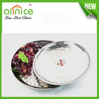 Elegant round plate stainless steel food tray/ india dinner plate / stainless steel serving tray