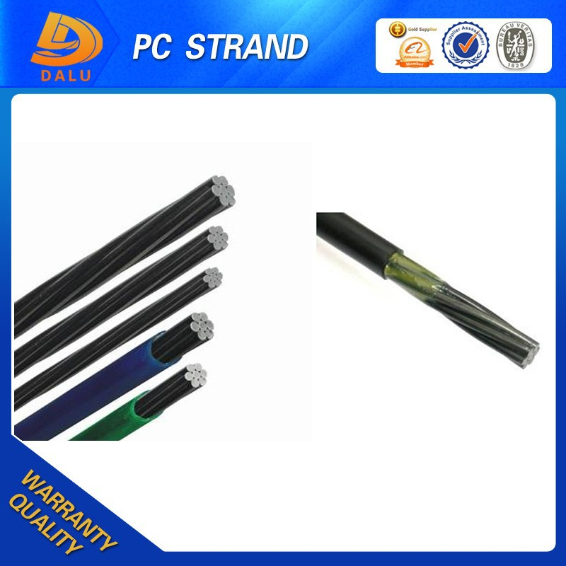 pe coated steel wire rope 12.7mm PE coated PC strand