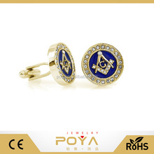 POYA Jewelry Classic Blue or Black Enamel Mason Masonic Gold Tone Crystal Cufflinks