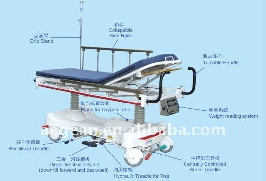 AG-HS006 Luxurious Hydraulic Rise-and-Fall Stretcher Cart with Weight System sick person transport ambulance bed stretcher