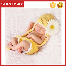 B-b444 Cute Newborn Costume Crochet Outfits Baby Photograph Props Sun Flower Hat Diaper Cover
