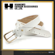 2017 fashion designer decorative women western fake pu leather belt