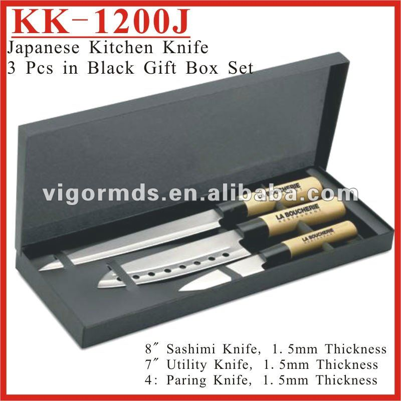 (KK-1200J) Japanese Style Kitchen Knives 3 Pcs Set with Black Gift Box