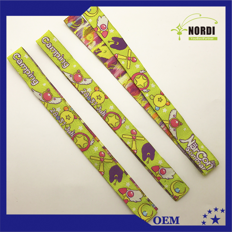 custom logo woven wristband with closure for events