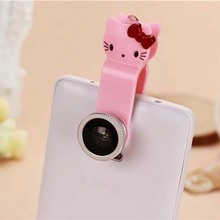 Cute Cartoon Hello Kitty Universal 3in1 Clip Fish Eye Lens+ Wide Angle +Macro Mobile Phone camera Lens for iphone/samsung/HTC/LG