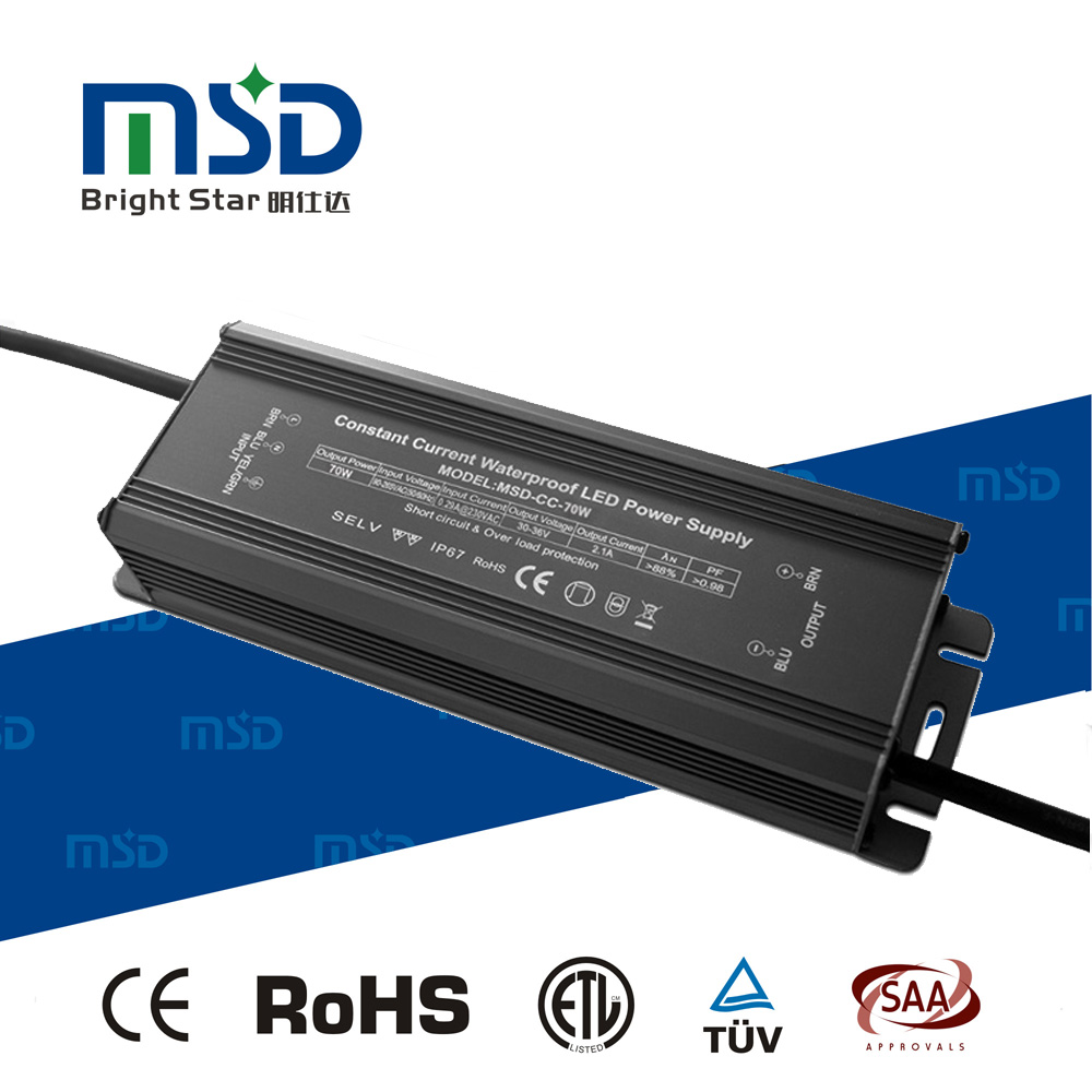 High PF Low Ripple Noise Free Waterproof IP67 Constant Current LED Driver 70W 3500mA Power Supply with CE RoHS