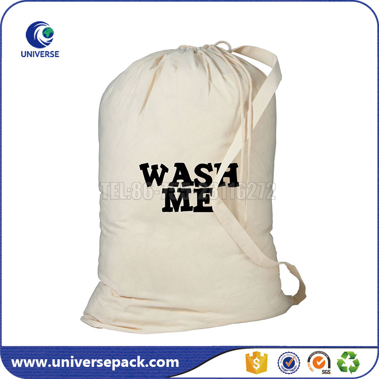 Large wash me drawstring cotton laundry bag with single shoulder strap