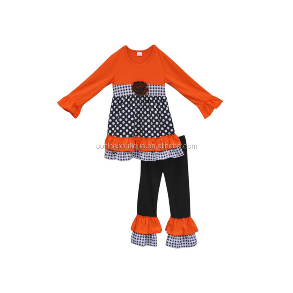 2017 China Manufacture Charming Girls Boutique Fall Outfit 100% Cotton Pom Pom Dec Polk Dots Double Ruffle Clothes