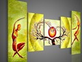 Hand painted Wall Art Pale Green Sun Tree Oil Painting