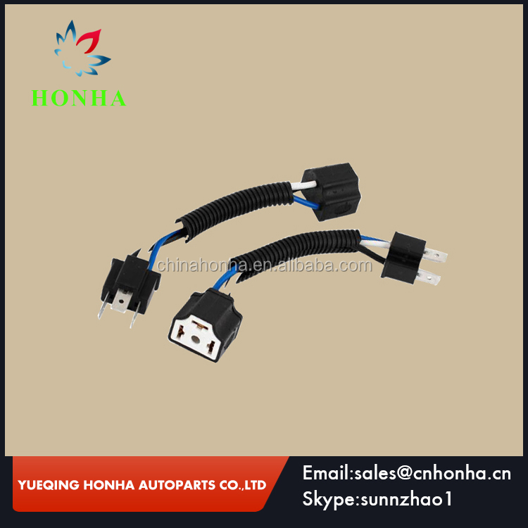 Ceramic Female to Male Wired Harness Adpater Light Socket H4 for Car