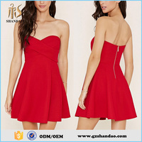 2016 Guangzhou Shandao Supplier Good Quality Summer Party Sexy Strapless Short Ruffle Red Chiffon Latest Dress Patterns Ladies