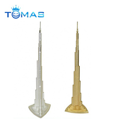 Popular customer design metal building souvenir gold color dubai tour souvenir metal dubai tower
