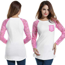Casual Modest Plus Size Womens O-Neck US Size Patchwork Panel T-shirt Slim Fit Contrast Color Tops Pocket Lace Sleeve Raglan