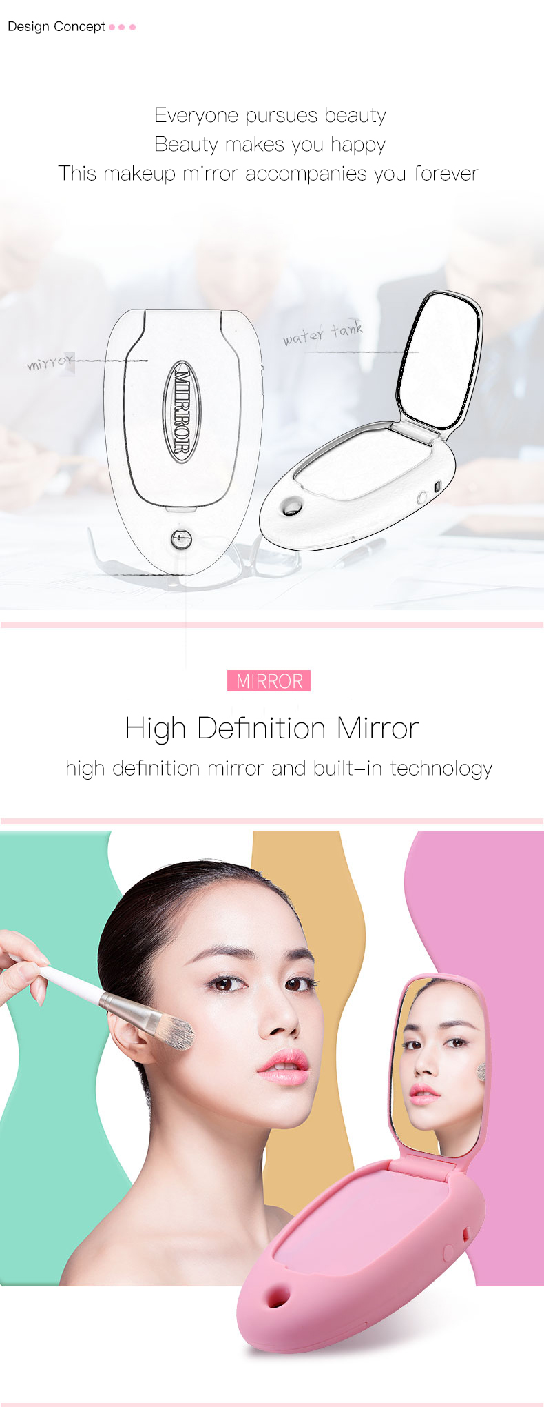 High quality Pocket multi-function fine nano mist spray led lighted makeup mirror manufacturer