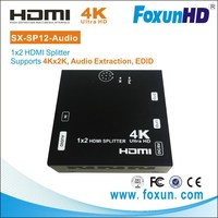1x2 4k HDMI Splitter Amplifer with EDID and seperatly audio output via optical cable