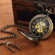 Hot Mechanical Pocket Watch Men Vintage Bronze Retro Fob Watches Charm Pendant Necklace Pocket & Fob Watch With Chain