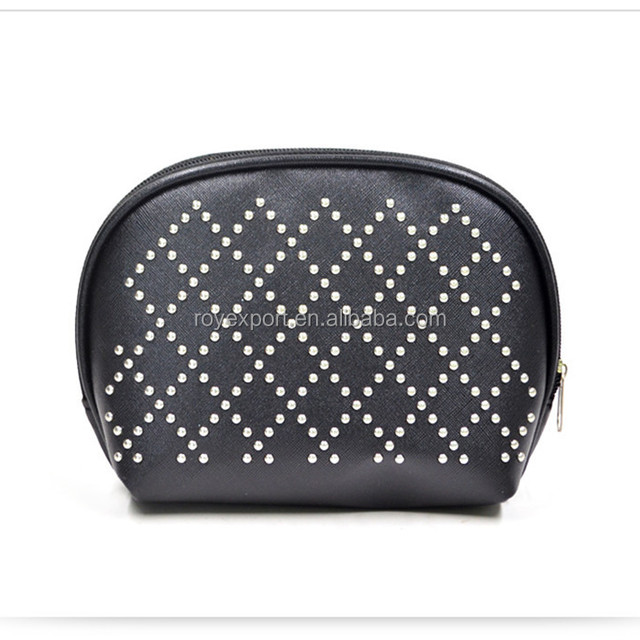Women New Fashion Shell Cosmetic Case Black PU Toiletry Makeup Bag Travel Neceser Portable Wash Bags