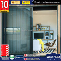 Australian standard factory wholesale double sliding glass doors with free mosquito screen