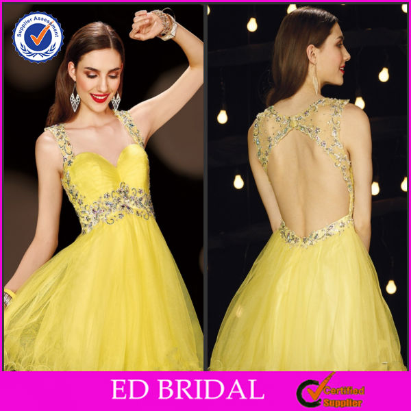 EDE301 New Arrival Yellow Crystal Straps High Waist Short Evening Gowns for Teenagers