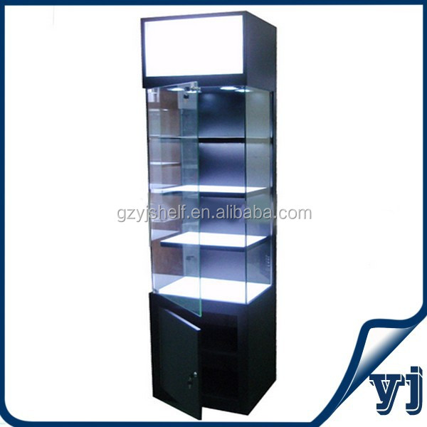 Square Glass & wooden cabinet Design/MDF Design Wood Glass Showcase for Jewelry Exhibition and Sale