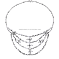 Top Quality 17.50CT 18K white gold Diamond engravable necklaces insurance yellow sapphire necklace