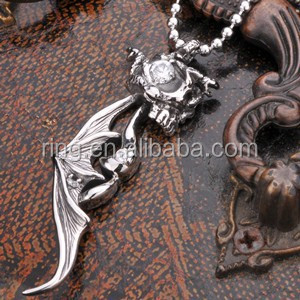 Fashion Punk Man's Jewelry Stainless Steel Snake CZ Skull Winged Pendant
