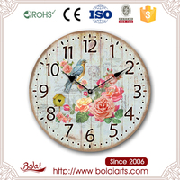 Beautiful turquoise dial bird and flowers printing wood craft wall decorations clock