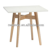 White modern square shape wooden dining table