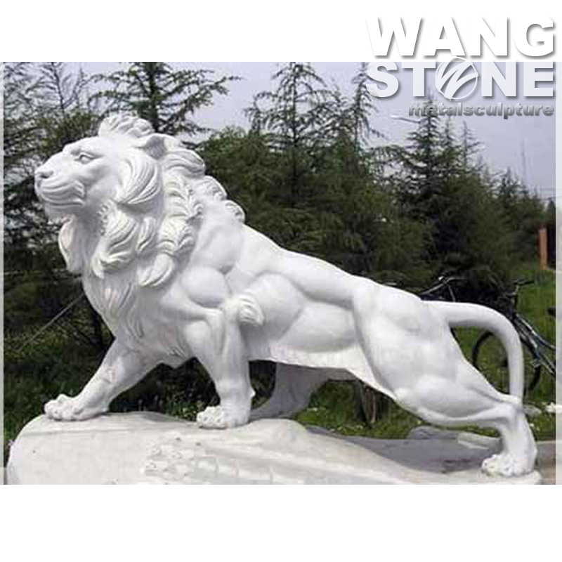 Life Size White Marble Stone Lion Sculpture