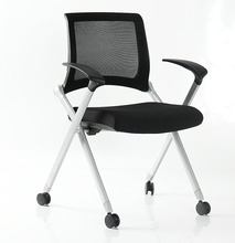 commercial folding armrest office chair with wheels for meeting room
