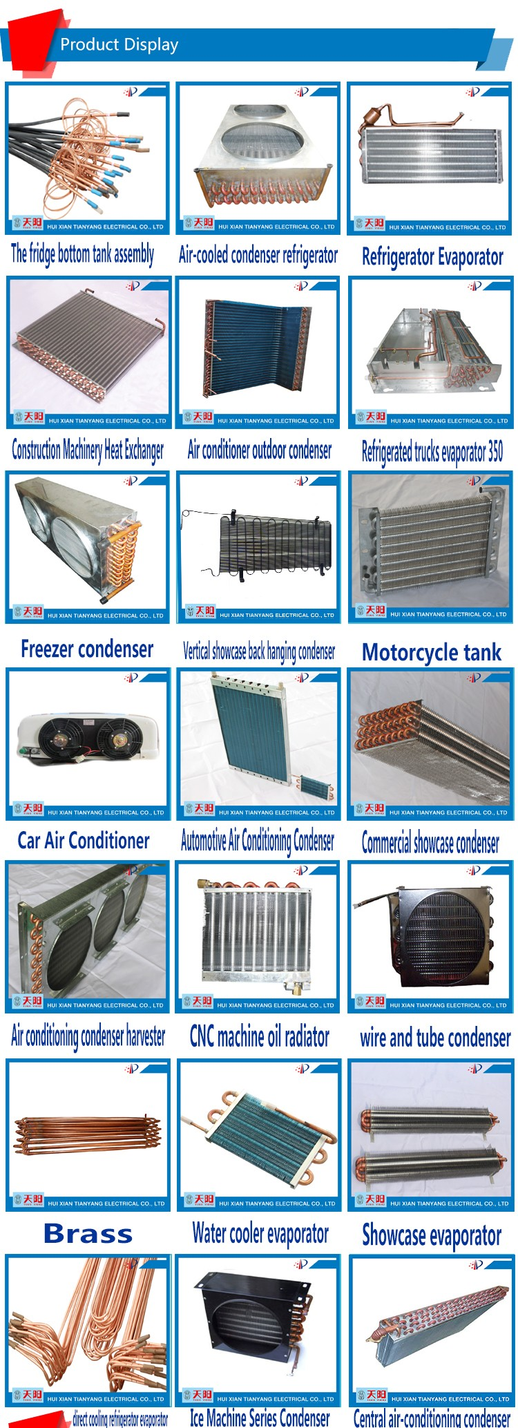 Brass copper fin heat exchanger