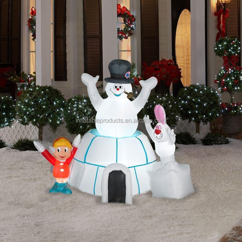 CHRISTMAS DECORATION LAWN YARD INFLATABLE AIRBLOWN FROSTY THE SNOWMAN IN AN IGLOO WITH KAREN AND RABBIT 5' TALL