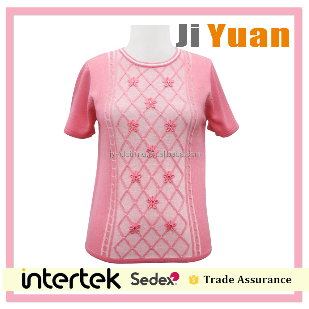 unique short sleeve ladies jumper transfer stitch cable knitted floral crochet lace applique woman sweater