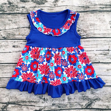 Wholesale Lovely Girls Sleeveless Printed Flowers 4th July Frock Designs For Small Girls