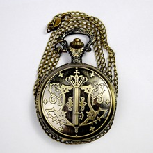 cheap pendant necklace pocket watch wholesale 3D Bronze Quartz Pocket Watch With Necklace Chain for Children